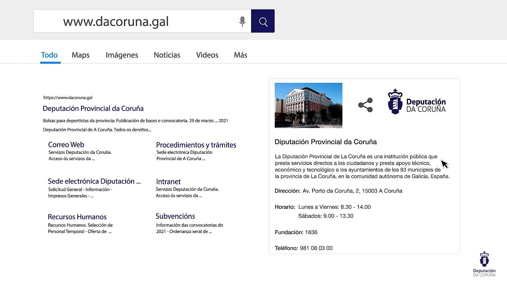 Video animado de la web de la Deputación da Coruña
